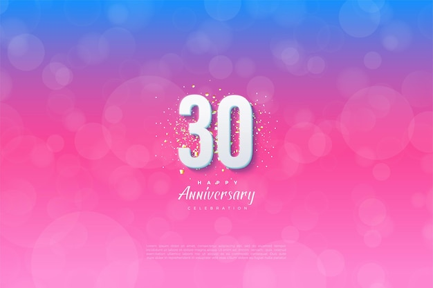Фон 30-й годовщины с цифрами и фоном от синего до розового