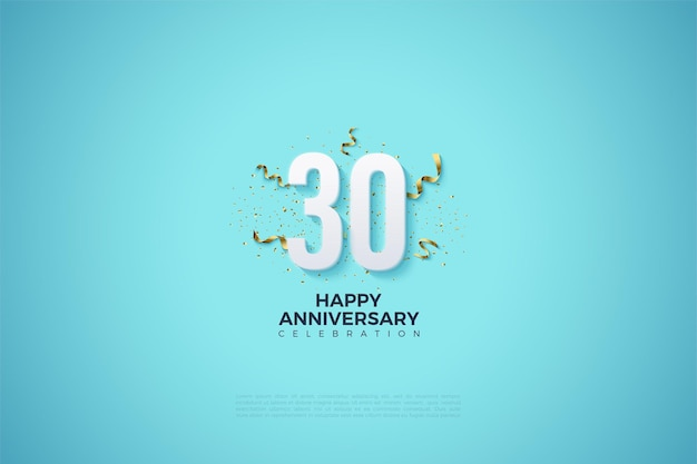 30th anniversary background with numbers on a clear sky blue background