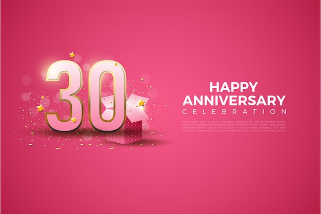 30th anniversary background with numbers and gift box on bright red background