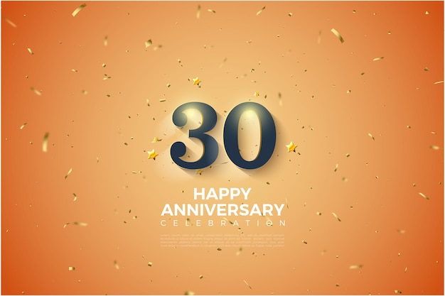 30th anniversary background with soft white shaded numbers illustration