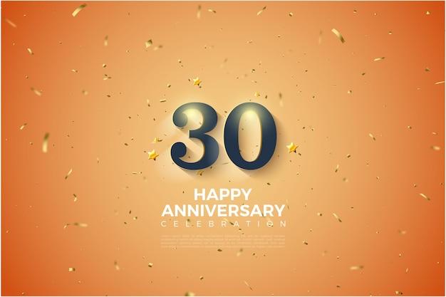 柔らかな白い影付きの数字のイラストと30周年記念の背景