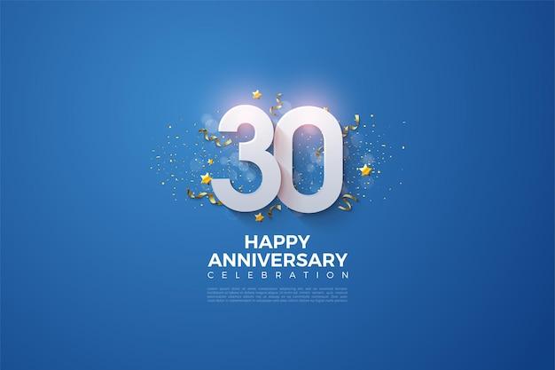 스티커 3d 숫자 일러스트와 함께 30 주년 기념 배경