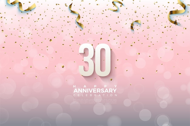30th anniversary background with three-dimensional numbers and falling gold foil
