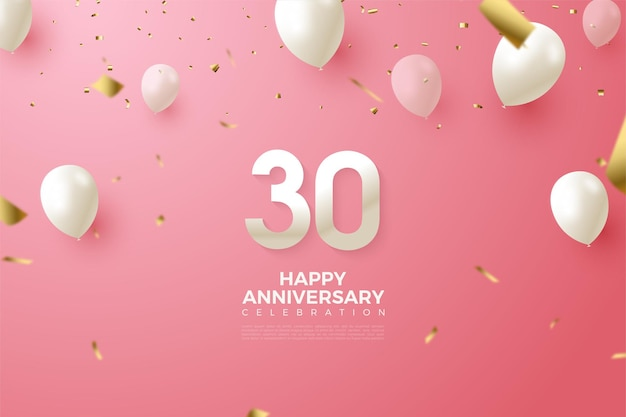 30th anniversary background with white balloon and numbers illustration