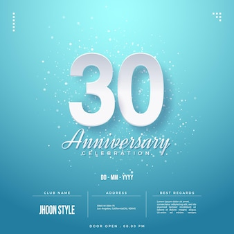 흰색 숫자가 있는 30주년 축하 초대장
