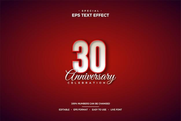 단색 빨간색 테두리가 있는 3d 숫자가 있는 30주년 텍스트 효과