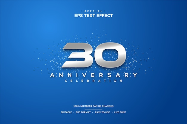 30th anniversary text effect with silver numbers on a blue background