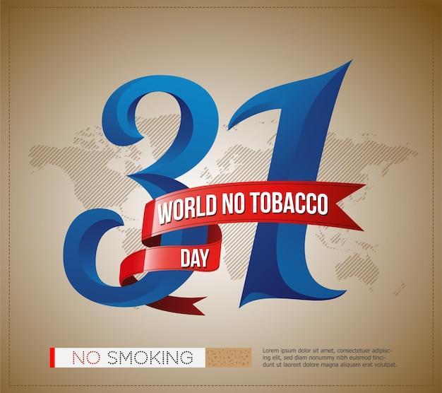 31世界タバコデーのロゴ、ポスター、スタイリッシュなテキストと世界地図のバナー