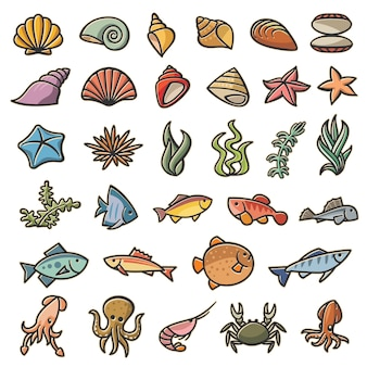 Морские морские символы красочный набор из 32 изображений. набор из 32 морских обитателей разноцветных в стиле мультфильмов. пестротканые покрашенные изображения авторского права изолированные на белой предпосылке.