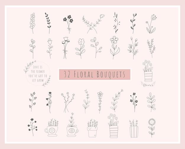 32フローラルブーケバンドル。花手描き、ミニマリスト、野花リース、野草、ロゴ用植木鉢、印刷、クリカット、ウェディングカード。ベクトルイラスト