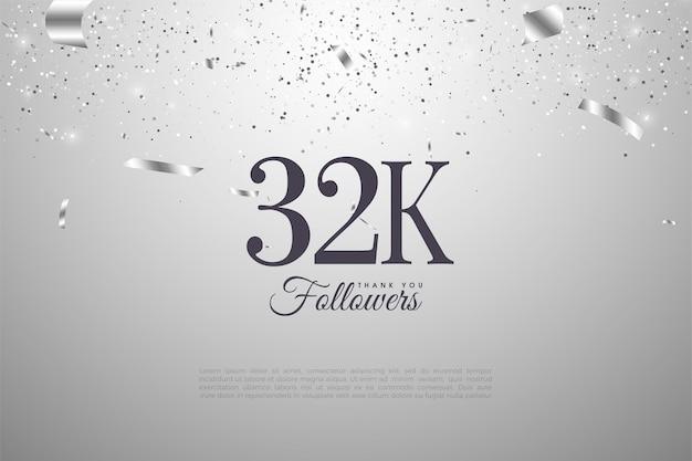 32k последователей фон с плоским дизайном номера