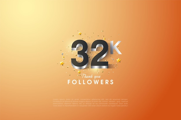 Фон из 32k последователей с посеребренными цифрами