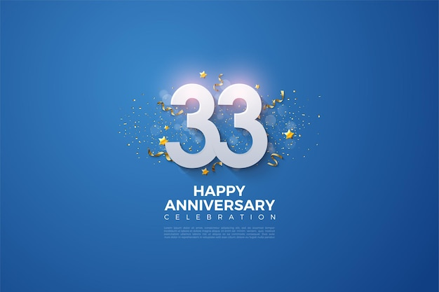 33rd anniversary with 3d numbers illustration