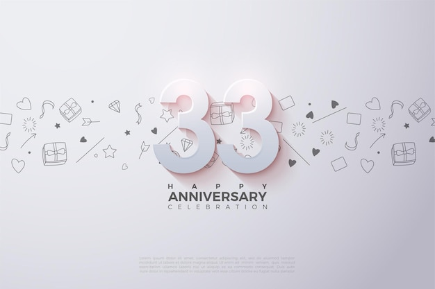 33rd anniversary with fading 3d numbers