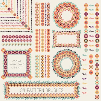 34 decorative vector pattern brushes with flowers and leaves. retro style natural frames, borders, wreaths, decorations.