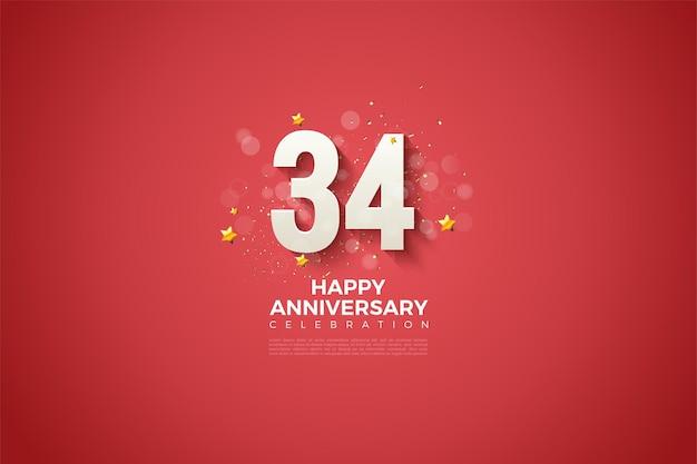 34-я годовщина с очаровательным дизайном