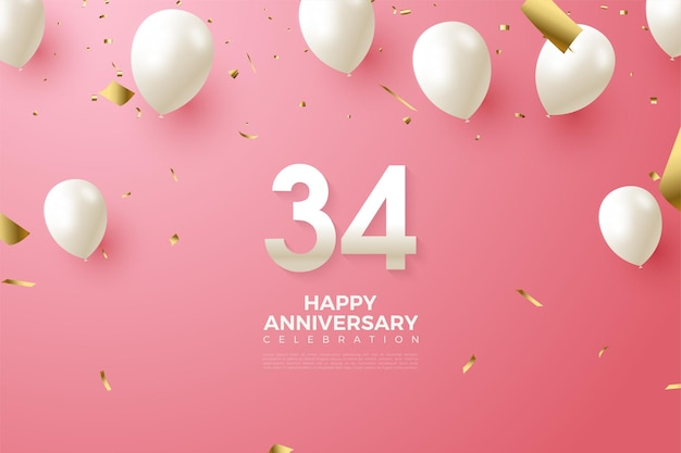 34-я годовщина с числами и воздушными шарами