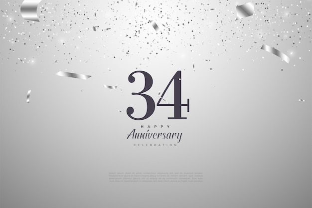 34-я годовщина с цифрами на серебряном фоне