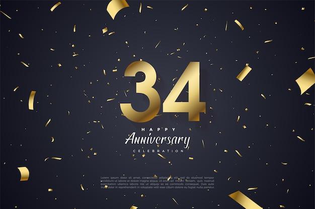 34-я годовщина с разбросанными золотыми и цифровыми иллюстрациями