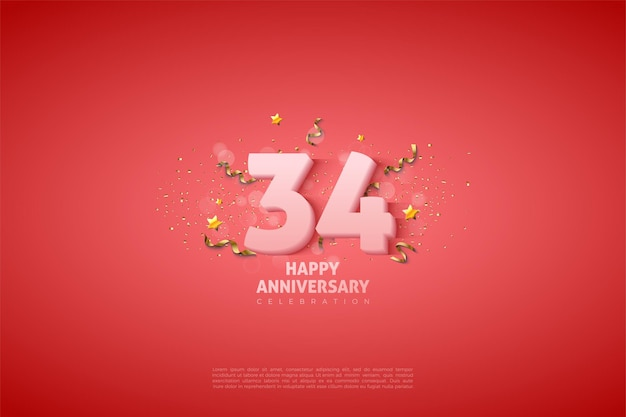 34-я годовщина с мягкими белыми цифрами
