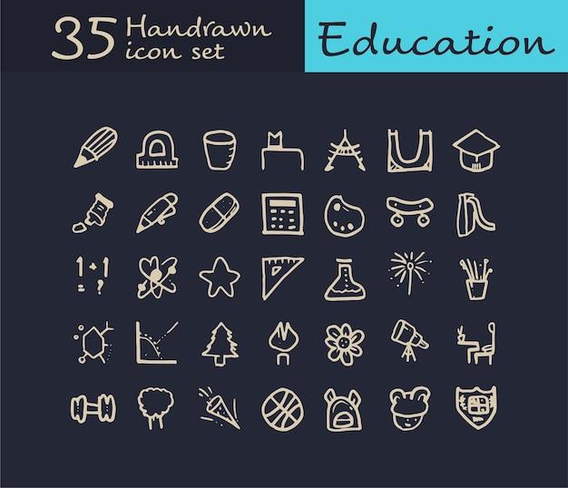 35 hand drawn education icon