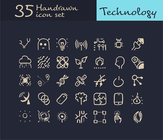 35 hand drawn technology icon. doodle technology icon
