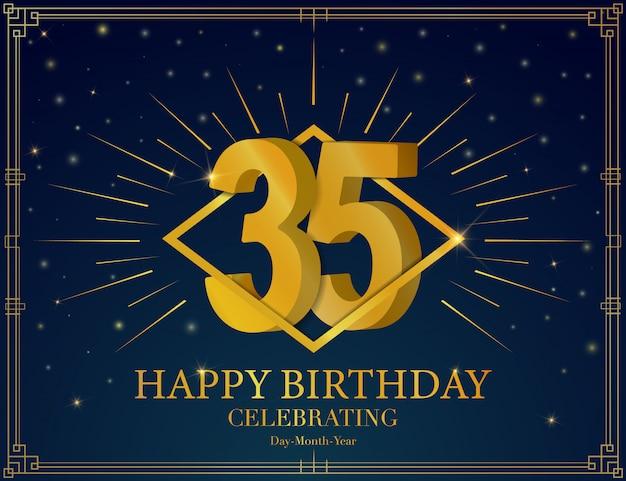 35 happy birthday anniversary celebration greeting card.