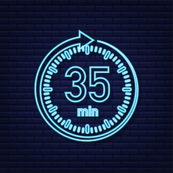 The 35 minutes stopwatch vector neon icon stopwatch icon