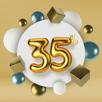 35 off discount promotion sale made of 3d gold text number in the form of golden balloons