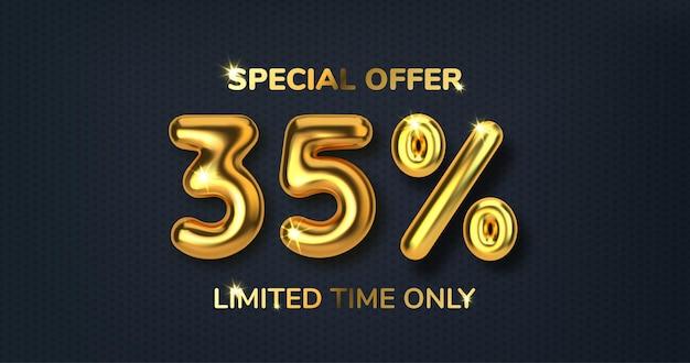 Скидка 35 на продвижение по продаже из реалистичных 3d золотых шаров