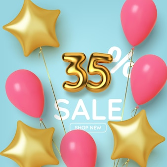 風船と星が付いたリアルな 3 d の金の数字で作られた 35 割引の割引プロモーション セール。金色の風船の形をした番号。