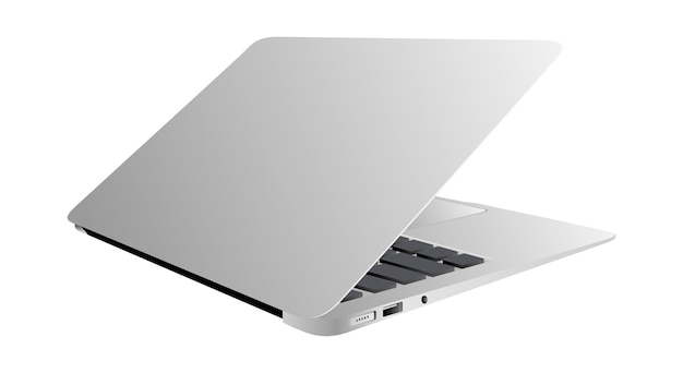 リアルなノートパソコンの傾斜35度分離ホワイト