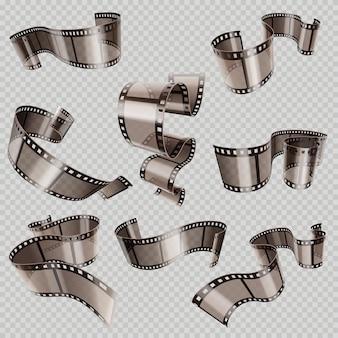 レトロ35mm写真と映画フィルムロールベクトルセット