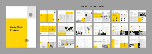 36 pages layout design for social media marketing proposal template
