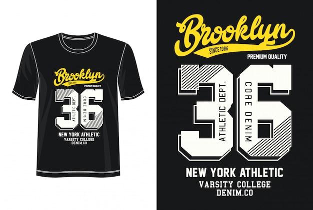 ブルックリン36印刷tシャツのタイポグラフィ
