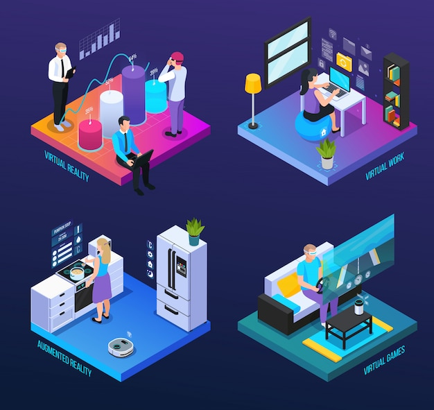 Виртуальная дополненная реальность 360 градусов изометрическая 2х2 набор композиций с человеческими персонажами и компьютерными иконками векторная иллюстрация