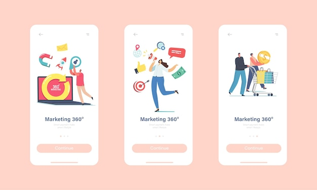 360 degree marketing mobile app page onboard screen template. tiny characters at huge laptop with turning arrow. manager attract clients use advertising concept. cartoon people vector illustration