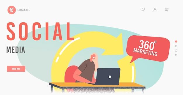 360도 소셜 미디어 마케팅 방문 페이지 템플릿. 관리자 여성 캐릭터는 거대한 화살표를 돌려 고객을 끌어들이는 노트북에서 작업합니다. 인터넷 관리, 온라인 판매. 만화 벡터 일러스트 레이 션
