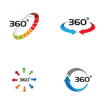 360 degree view related vector icons design template