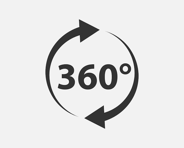 360도 보기 벡터 아이콘입니다. 웹 사이트, 웹 디자인, 모바일 앱의 기호 및 기호.