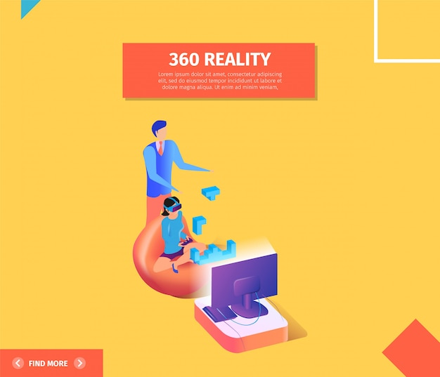 360 reality banner. woman in vr glasses playing