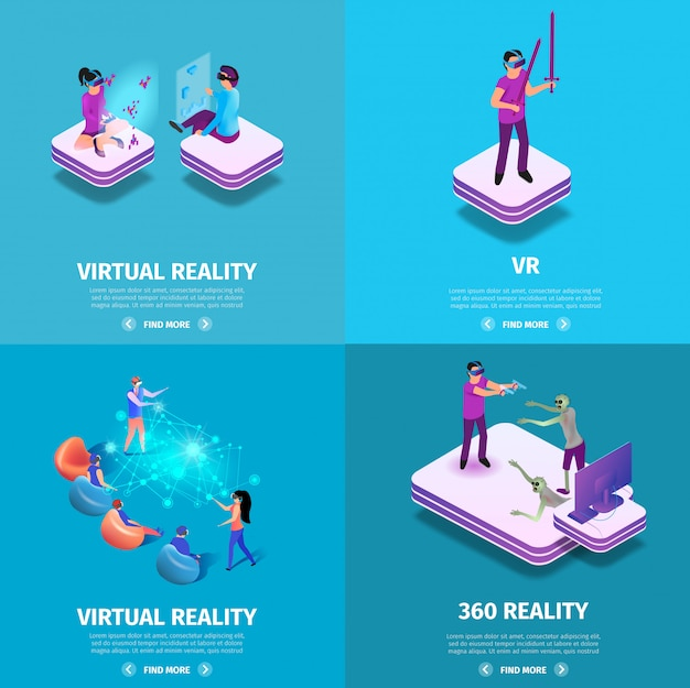 360 virtual reality square banners set. gaming.
