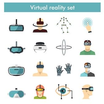 Плоский набор 360 градусов изображения и видео, связанных с элементами вектора.