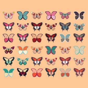 36個のカラフルな手描きの蝶、オレンジの背景のコレクション