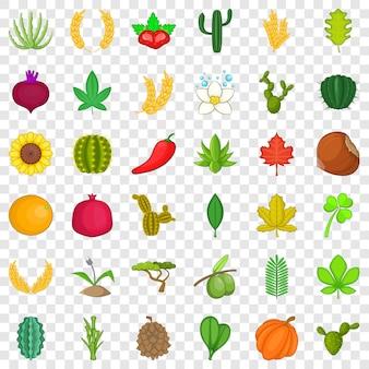 植物学のアイコンを設定します。 36の植物学アイコンの漫画のスタイル