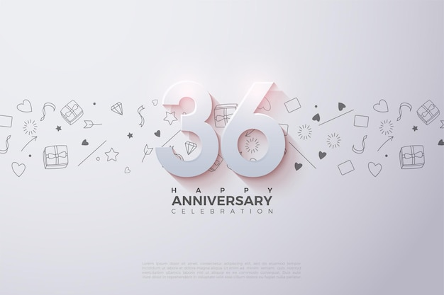 36th anniversary with soft shaded 3d numbers