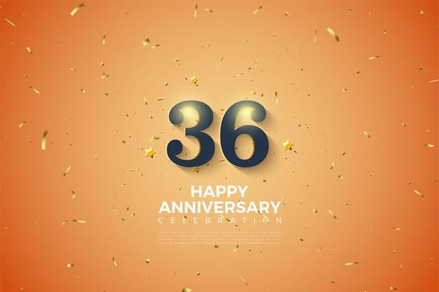 36-я годовщина с тонкими заштрихованными цифрами