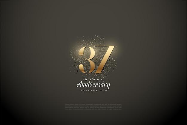 37-я годовщина с золотыми цифрами и блеском Premium векторы