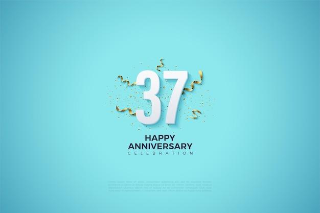 숫자와 파티 호의가있는 37 주년