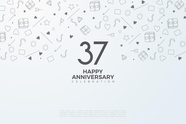 숫자와 그림을 배경으로 한 37 주년